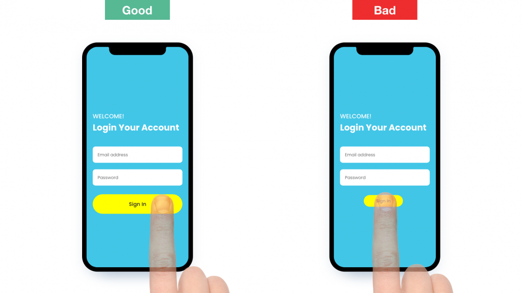 UX Mobile Design Finger Size